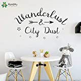 zhuziji Etiqueta de la Pared Aventura Flecha Vinilo Etiqueta de la Pared Citas Wanderlust City Dust Windows Stars Pattern Living Room Home Decoration 85x50cm