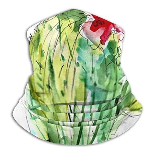 Uosliks Sciarpa Collo Acquerello Cactus con Fiori 26 cm x 30 cm Copricapo Testa Avvolgente Tubo Multifunzionale