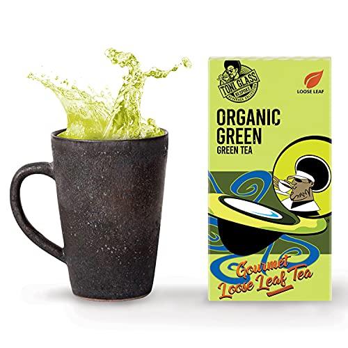 Toni Glass Collection Loose Leaf 100% Organic Green Tea (72 Cups) – Light Medium Body Caffeine Rich Tea – Ideal for Hot Tea (2 Pack)