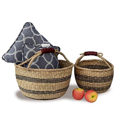 Juego de 2 cestas de mimbre Bolga tejidas de picnic con asas de cuero para envolver | Cesta de mimbre de sauce para frutas, regalos, juguetes, manualidades