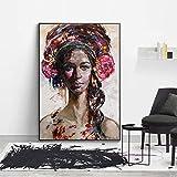 KWzEQ Imprimir en Lienzo Cartel e imágenes Modernos de la Mujer Africana para el sofá de la Sala de estar40x50cmPintura sin Marco