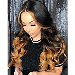 1BT30 Omber Loose Wave Lace Front Human hair Wig,100% High Quality Unprocessed Human Hair.Pre Plucked with Baby Hair.You Can Wear It in Any Occasions, Such as Christmas, New Year, Holiday, Theme Parties, Weddings, Dating, Cosplay. Lace Color:HD Trans...
