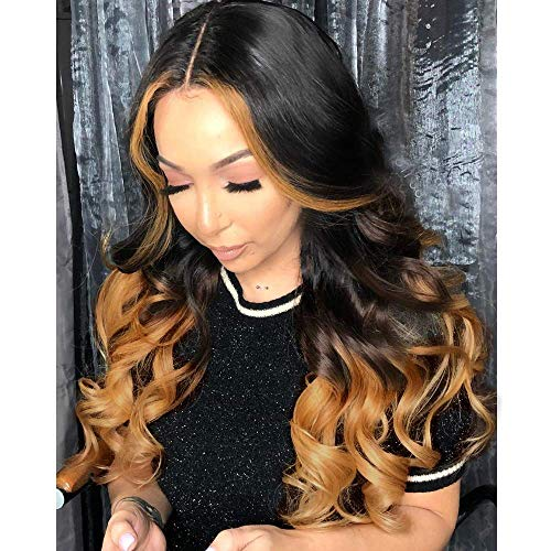 YMS T Part Lace Front Wigs Human Hair 150% Density Loose Wave Human Hair Wigs 1b/4/30 Ombre Human Hair Lace Front Wigs for Black Women Unprocessed Virgin Human Hair Wigs(22 Inch,Ombre Brown)