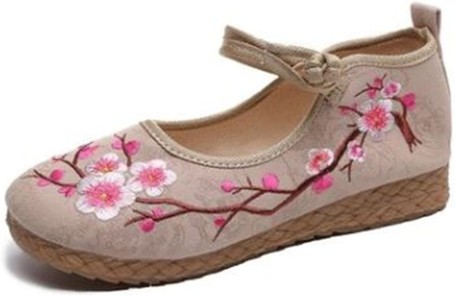 BeautyOriginal Women's Toe Embroidered shoes Lace Up colorful Casual Flats shoes