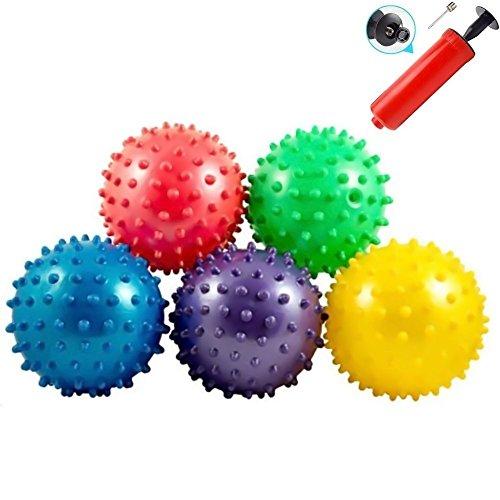LOVEINUSA Bounce Ball, 12 PCS Edushape Sensory Balls Knobby Party Balls Massage Balls with Air Pump Set 4.72'