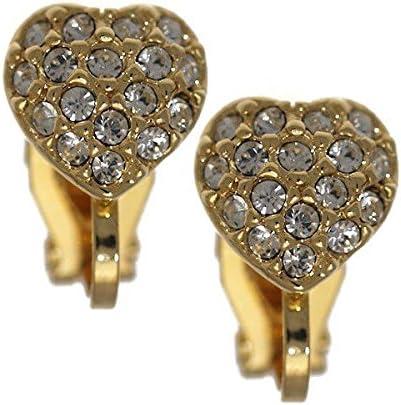 IXCHEL Gold Plated Crystal Heart Clip On Earrings