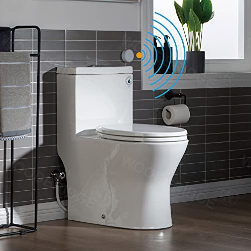 WOODBRIDGE B-0500-A Touchless, Dual Flush Compact One Piece Toilet with Soft Closing Seat,Comfort Height,Water Sense, High-Efficiency,Rectangle Button, White