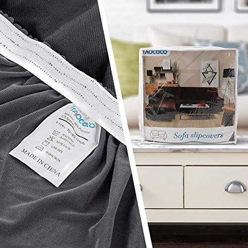 TAOCOCO Copridivano con Penisola Elasticizzato Chaise Longue Sofa Cover Componibile in Poliestere a Forma di L(Grigio Chiaro, 3 Posti+3Posti)