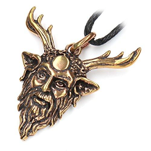 Drachensilber Cernunnos keltischer Schmuck Anhänger Bronze, Kettenanhänger Länge mit Öse: 3.2 cm, inkl. Band, keltischer Gott der Wälder