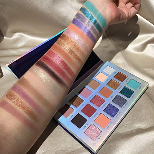 18 Colors Mercury Retrograde Palette, Ultra Pigmented Fine Pressed Eyeshadow Palette Mattes, Metallics, Glitter and Multi-reflective Pinks Blues Mysterious Powder Eye Shadow Palettes 5