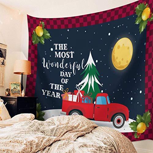N\A Tapiz para Colgar en la Pared, Tapiz Impreso de Navidad, Tapiz de Pared para niños, niñas, niños, habitación, Dormitorio, Sala de Estar, Dormitorio, camión, muñeco de Nieve, camión Rojo
