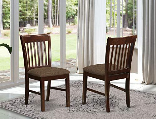 East West Furniture NFC-MAH-C Norfolk dining chairs - Linen Fabric Seat and Mahogany Hardwood Structure Dining Chair set of 2