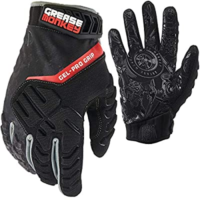 Grease Monkey Gel-PRO Grip Mechanic Gloves, Premium Protective Work Gloves with Grip & Touchscreen Capability, Veil, Large