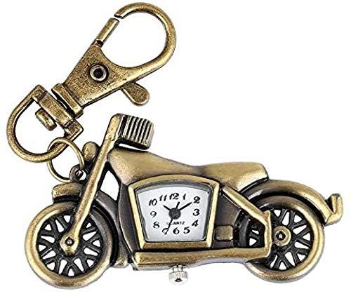 SZLGPJ Schlüsselringe Für Mädchen Retro Bronze Schlüsselbund Quarz Taschenuhr Motorrad Schlüsselanhänger Halskette Anhänger Student Schmuck Uhr Geschenke Für Männer Frauen Kinder