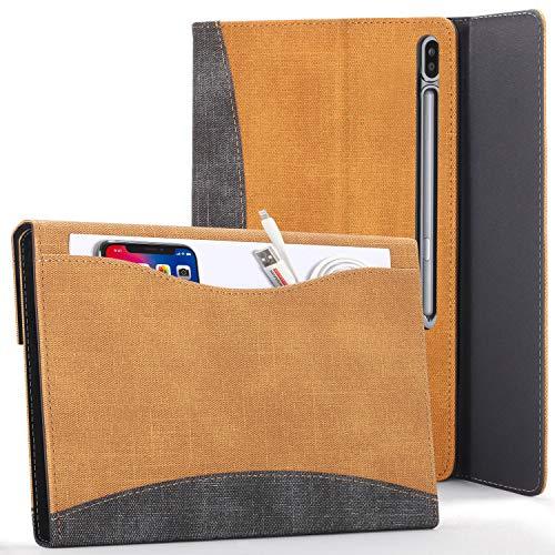 Forefront Cases Hülle für Samsung Galaxy Tab S7 Plus - Galaxy Tab S7 Plus Hülle Ständer mit Dokumenten-Tasche & S Pen Halter - Braun - Auto Schlaf/Wach, Galaxy Tab S7 Plus 12.4 zoll 2020 Hülle, Tasche