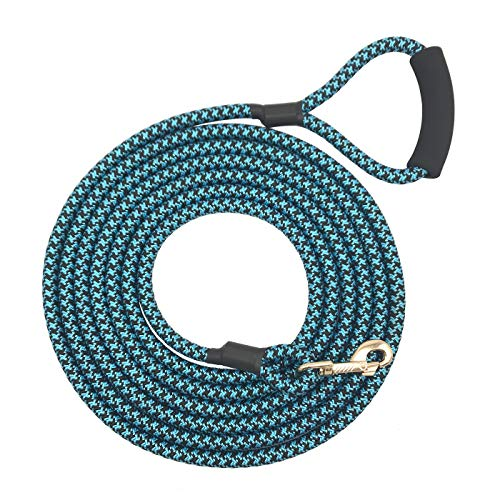 Shorven Nylon Strong Dog Rope Lead Leash Training Dog Lead with Soft Handle 6-20 FT Long Blue/Black (Dia:0.5