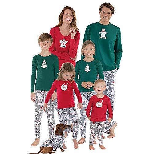 Xingsiyue 2PCS Familia a Juego Pijamas, Manga Larga Estampado Navidad Ropa de Dormir Pijamas de Conjunto Unisex Sleepwear