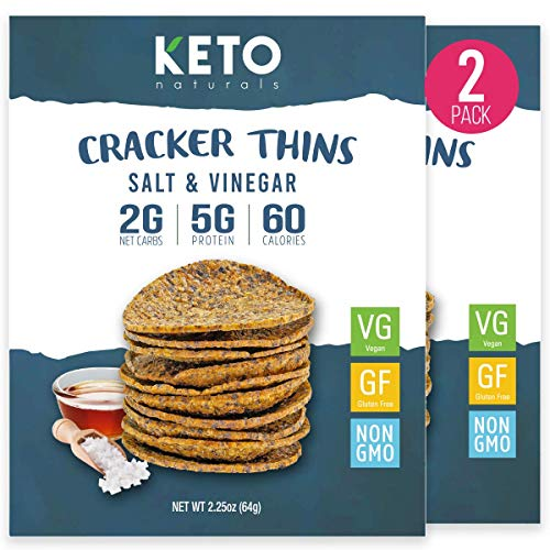 Keto Cracker Thins Low Carb Crackers, Sea Salt and Vinegar, 60 Calories Diet Friendly, High Protein Gluten Free Healthy Snacks Chips, Simple Food Ingredients, 2 x 2.26oz Bags.