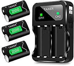 TAIKER Compatible with Xbox One Battery 3 Pack x 2550mAh Rechargeable Controller Battery and Charger for Xbox One/Xbox One S/Xbox One X/Xbox One Elite Wireless Controller