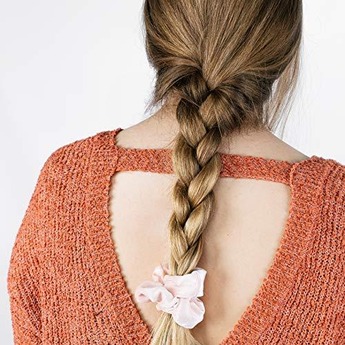 HARLOW Designer Velvet Scrunchies for hair, Big Scrunchies Velvet Packs for VSCO stuff, Hair Scrunchies - 6 Pack (Blush)