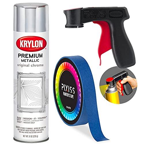 Krylon Chrome Metallic Spray Paint Silver 8-Ounce, Snap and Spray Paint Can Handle Sprayer Tool,...
