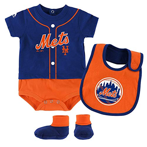 Outerstuff MLB Newborn Infants Tiny Player Creeper, Bib, and Bootie Set (24 Months, New York Mets)