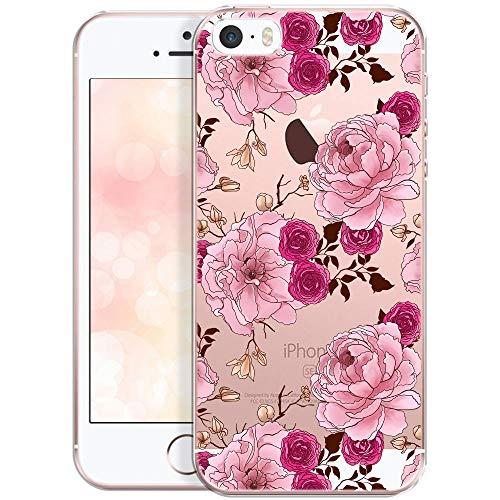 QULT Carcasa para Móvil Compatible con iPhone 5, iPhone SE, Funda iPhone 5S Transparente Dibujo Silicona Suave Bumper Teléfono Caso para iPhone 5, 5S, SE Flores Peonias y pétalos de Rosa
