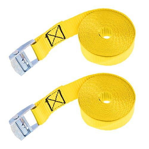 B Blesiya 2X Correa De Cinturón De Pestañas para Amarres De Carga con Hebilla De Leva De Metal 2.5m Amarillo