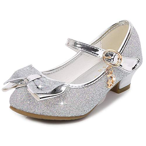 YOGLY Disfraz Princesa Zapatos de Lentejuelas Antideslizante Niñas Zapatos de Tacón Velcro Zapatillas de Baile para Vestir Fiesta Cumpleaños Boda Infantil 26-38
