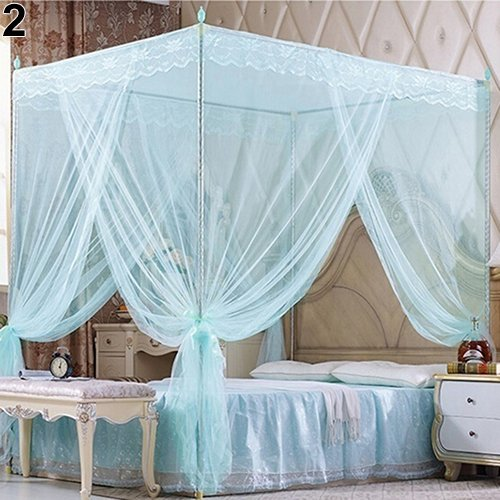 farawamu Mosquito Net, Romantic Princess Lace Canopy Mosquito Net No Frame for Twin Full Queen King Bed, Bed Decoration Blue Queen