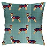 Mabell Beautifully Decorated Home Welsh Terrier Bagpipes Dogs in Costume Tartan Throw Pillow Case 18X18 Inches