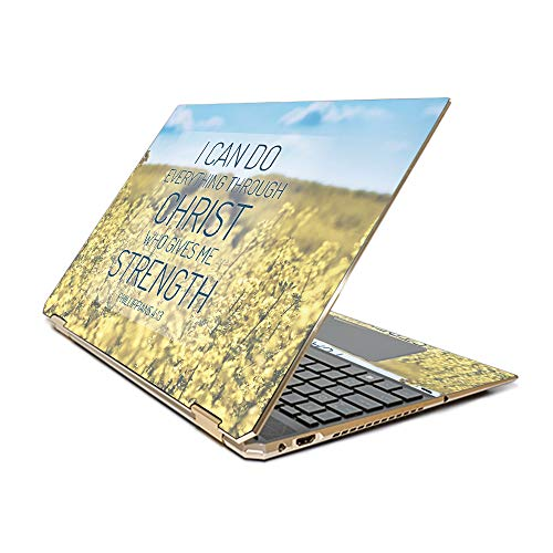 """MightySkins Skin Compatible with HP Spectre x360 15.6"""" Gem-Cut (2019) - Through Christ   Protective, Durable, and Unique Vinyl Decal wrap Cover   Easy to Apply  Made in The USA"""