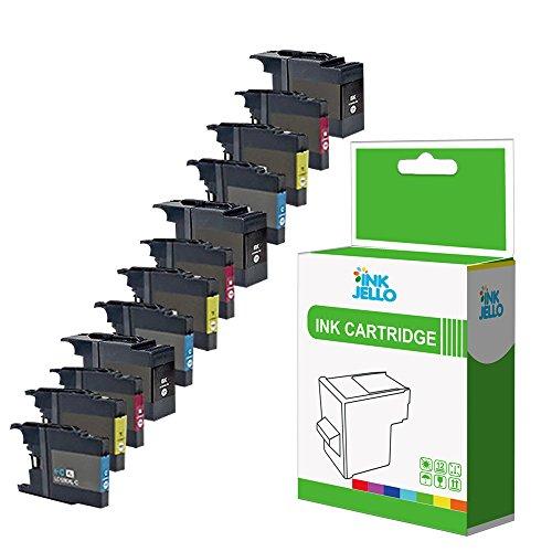 InkJello - Cartucho de tinta de repuesto para Brother MFC-J5910DW MFC-J6510DW MFC-J6710D MFC-J6710DW MFC-J6910DW LC-1280 (BK, C, M, Y, 12 unidades)