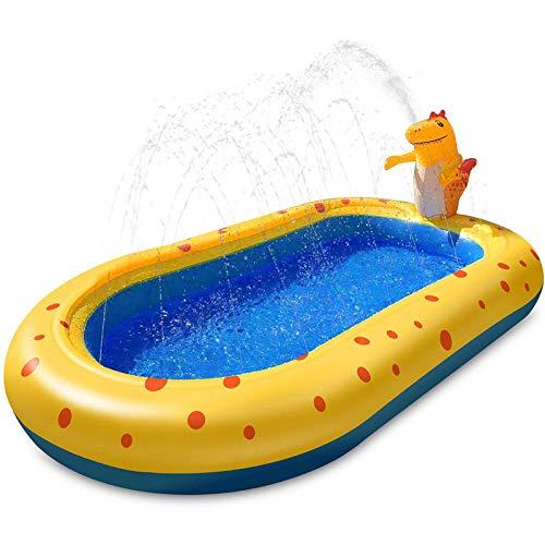 EEUK Splash Pad, Tapete de Juegos de Agua 170cm Juguetes Inflables de Agua para Bebés, Tapete Acuático para Actividades Familiares Aire Libre/Fiesta/Playa/jardín