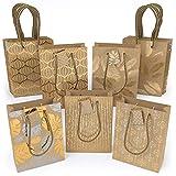ARTEZA Bolsas de Regalo | 24 x 17.8 x 8.6 cm | 15 Bolsas Surtidas | 5 diseños Originales de láminas metálicas | 3 Bolsas de Cada diseño | Papel Kraft | para Regalos de cumpleaños y de Boda