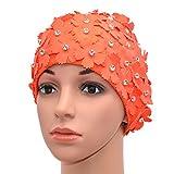 Medifier Manual Rhinestone Floral Petal Retro Style Swim cap Bathing Caps for Women Orange