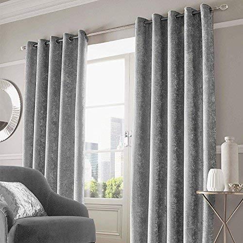 Rayyan Linen - Cortinas de terciopelo con ojales en la parte superior, color gris plateado, 2 cortinas totalmente forradas (ancho 168 cm x caída 54)