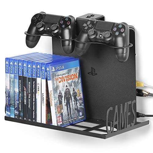 Borangame GameVspaceSwap, Soporte de Pared Vertical para Playstation 4, PS4 Slim y Pro, Xbox One X y One S, Espacio para Dos Mandos y 22 Juegos, Soporte Mural Hecho de Metal, Negro
