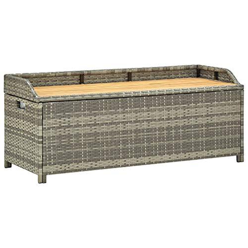 Tidyard Auflagenbox Garten Rattan, Gartenbox Kissenbox, Gartenbank mit Stauraum, mit Haltegriffen, 120x50x50 cm Grau Naturholzfarbe