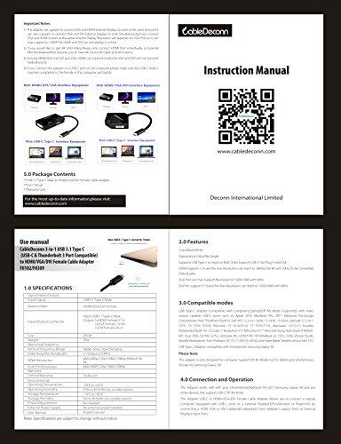 CableDeconn USB-C-Multiport-Adapter, USB-C Typ C 3.1 (Thunderbolt 3 kompatibel) zu HDMI, DVI, VGA, 4K, Adapterkabel für Macbook Pro weiß
