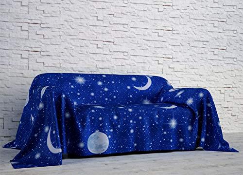 BIANCHERIAWEB Telo Arredo in Cotone Fantasia Luna Singolo Luna