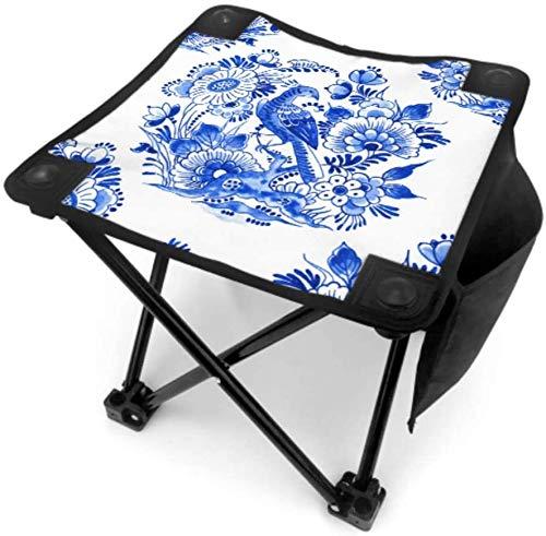 Kay Sam Taburete Plegable pequeño para Acampar, Silla de Pesca Plegable, Taburete portátil con Ilustraciones de cerámica Antigua, Azul y Blanco, Que viajan con Bolsa de Transporte