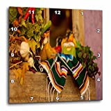 3dRose Hispanic Girl and Boy Ceramic Hanging on A Mirror with Hot Chili's and Leaves at Mexican Restaurant-Wall Clock, 13 by 13' (DPP_52081_2)