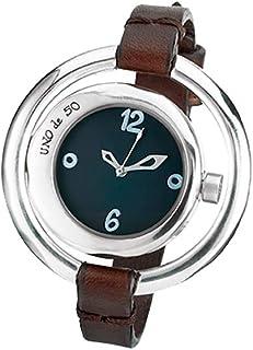 Original Reloj de Mujer bañado en Plata con Doble Esfera Disponible en Dos Colores (Blanca y Negra). La Correa, en Cuero m...
