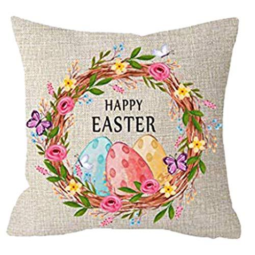 Moent Happy Easter Eggs - Funda de almohada cuadrada de algodón y lino para el hogar, funda de cojín para sofá, decoración de festivales, 45,7 x 45,7 cm (B)