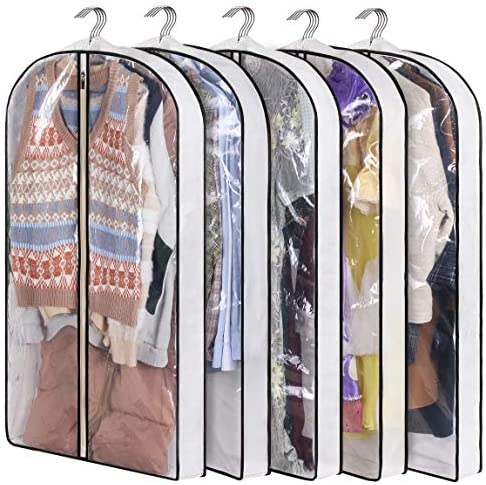 KIMBORA Suit Bag with 4 Gussetes Garment Bags for Closet Storage Hanging Clothes Cover 5 Packs product image