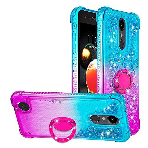 WIWJ Funda LG K9/LG K8 2018 Carcasas Cristal Transparente Cover Suave Silicona TPU Case Lujosa Brilla Glitte Purpurina 360 Anillo iman Soporte...