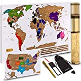 Product Image of the Scratch Off World Map + Scratch Off USA Map Travel Poster | US States and World...