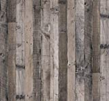 Faux Gray Wood Plank Wallpaper,17.7in X 78.7in Wood Removable Peel and Stick Wallpaper Self Adhesive Wood Grain Reclaimed Wallpaper Contact Paper Vintage Wood Look Vinyl Wall Covering for Home Use