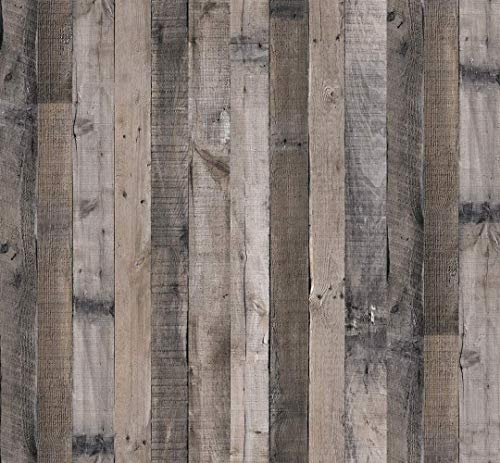 Faux Gray Wood Plank Wallpaper,17.7inch X 78.7inch Removable Peel and Stick Wallpaper Self Adhesive Wood Grain Reclaimed Wallpaper Contact Paper Vintage Wood Look Vinyl Wall Covering for Home Use